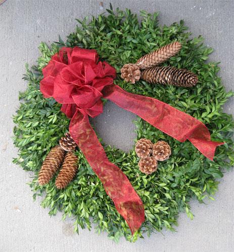decorated boxwood wreath