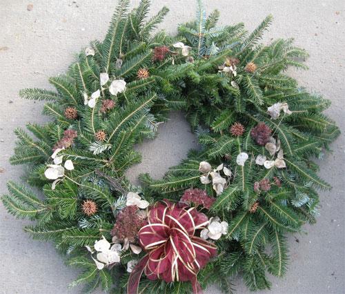 decorated fir wreath